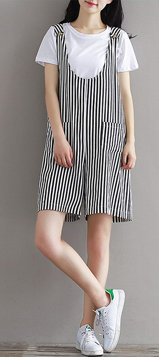 29d158c282a Womens Striped Overalls Wide Leg Pants Cotton Linen Shorts Plus Size  Jumpsuit   Check this awesome product by going to the link at the image.