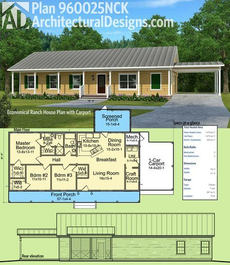 Plan 960025nck Economical Ranch House Plan With Carport Simple House Plans Ranch House Plans Ranch House Plan