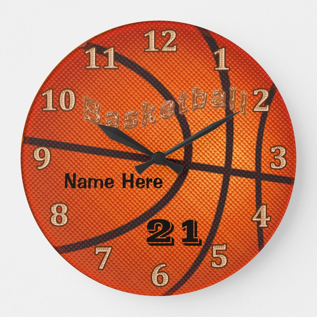 Basketball Clocks With Name And Jersey Number Basketball Bedroom