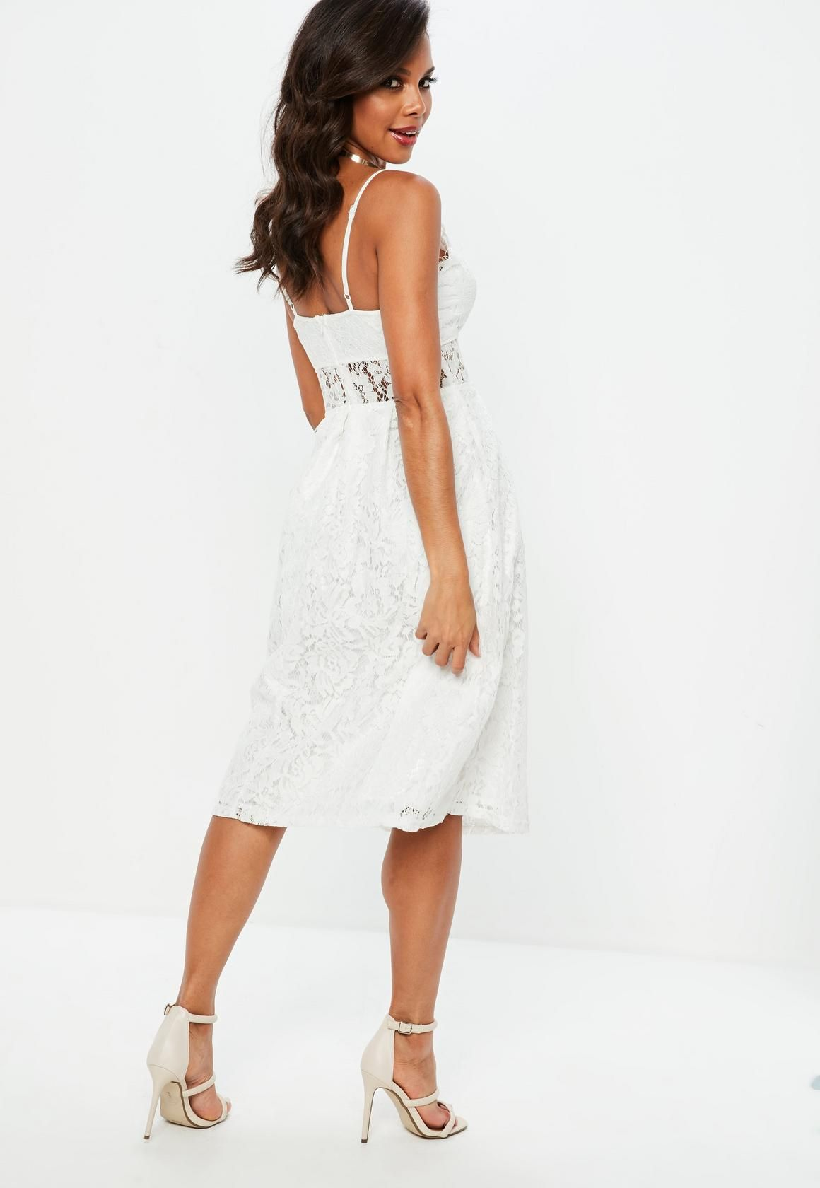 Missguided - White Lace Strappy Midi Skater Dress  33a99ee14