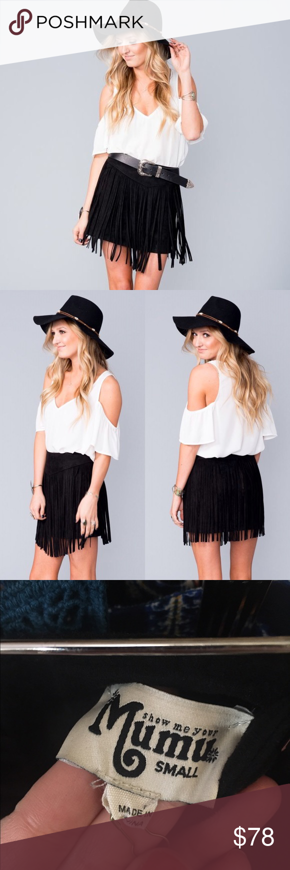 c0800aea0d SMYM Rancho Fringe Skirt Black Suede Show me your Mumu Rancho Black suede Fringe  Skirt. Never worn. Comment with questions. Show Me Your MuMu Skirts Mini