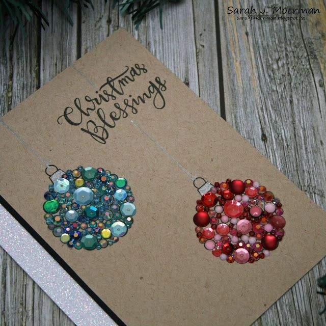 Sequin Ornaments DIY Christmas Card