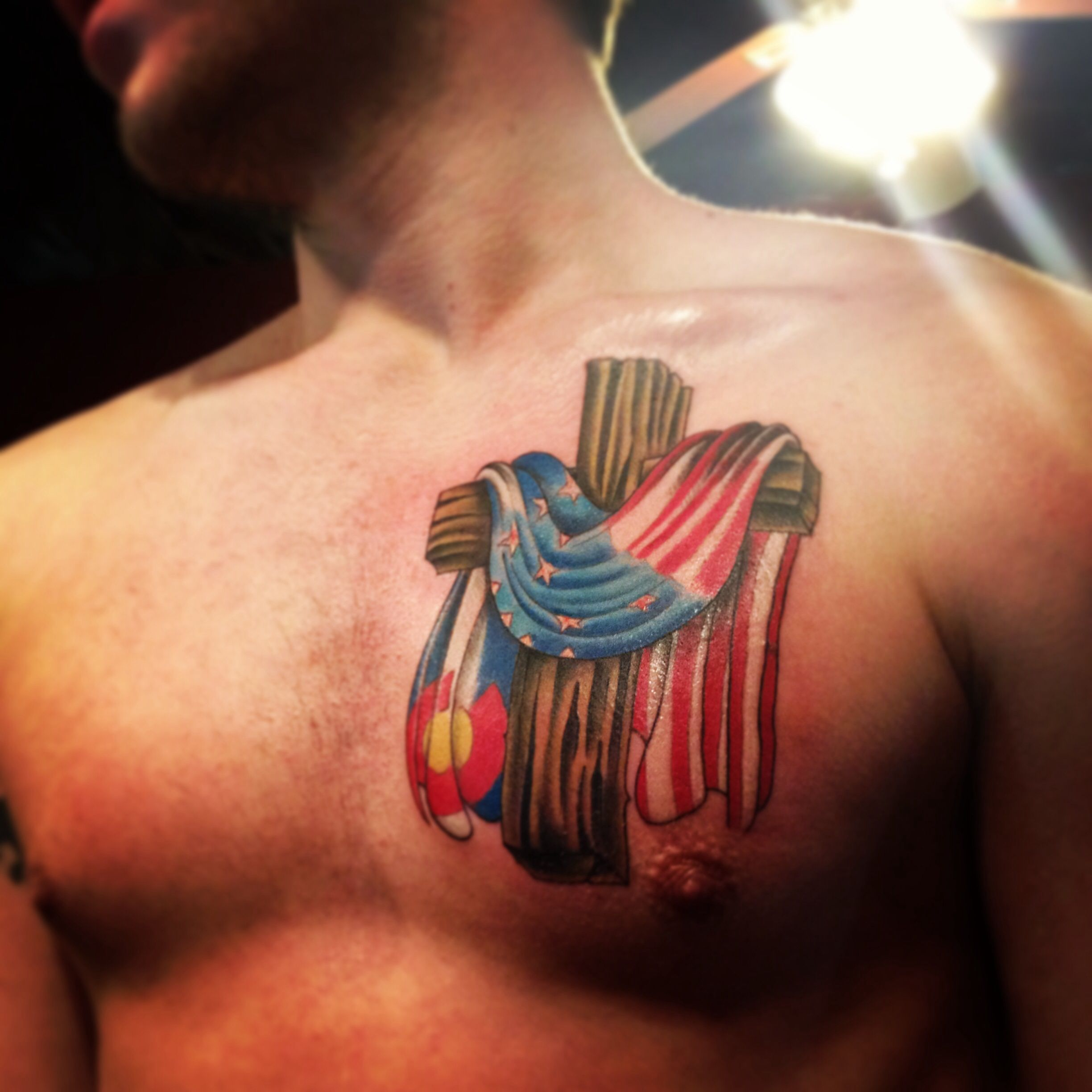 Cross With Colorado Flag And American Flag Done At Story Of My