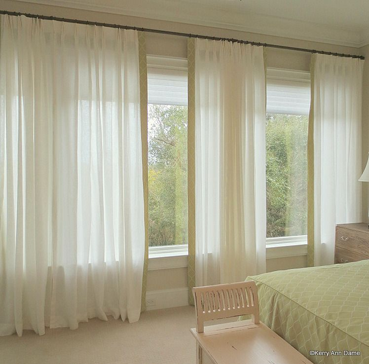 Large Windows Linen Sheers With Border Large Window Treatments Window Treatments Large Window Curtains