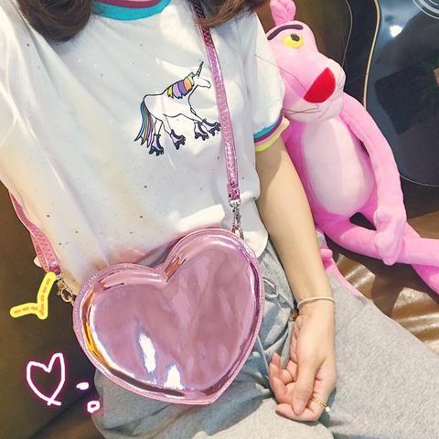Pink Hologram Laser Heart Shoulder Bag SP1711557