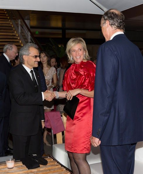 (L to R) Prince Mohammed bin Nawaf bin Abdulaziz Al Saud, Princess Astrid of Belgium and Prince Lorenz of Belgium attend the 'EORTC' Charity Dinner at Monaco Yatch Club on 01.10.2014 in Monte-Carlo, Monaco.