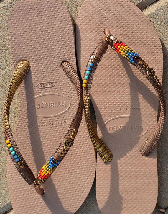 04df2a99fefb7 Flip Flops, Beaded Flip Flops, Rose Gold Havaianas, Decorated ...