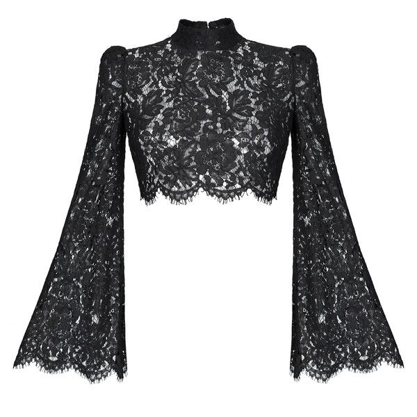 4386122255297 Rasario Cropped Lace Top ( 880) ❤ liked on Polyvore featuring tops ...