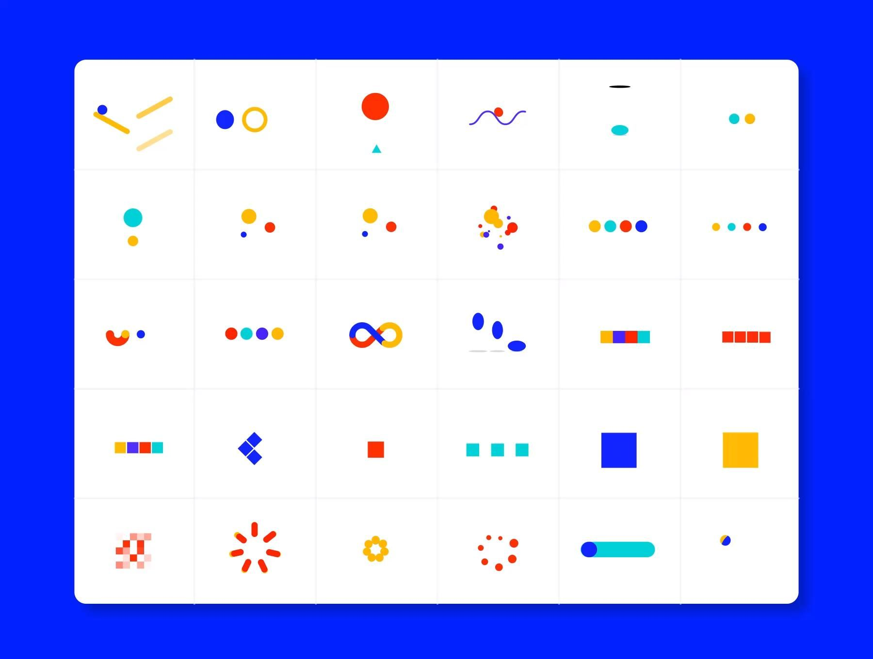 A collection of premium loaders made up of circles, squares and other simple shapes.  Each animation was created in After Effects then rendered using the latest version of Bodymovin (5.5.10), resulting in a flexible json file ready to use with Lottie. Disclosure: This is a sponsored ad to UI8 site.