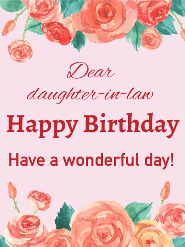 Rose Happy Birthday Card For Daughter In Law Your Wonderful