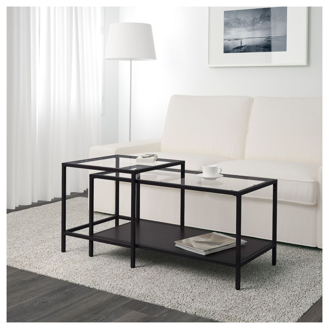 Ikea Couchtisch Mit Glas VittsjÖ Nesting Tables, Set Of 2, Black-brown, Glass, 35 3/8x19 5/8\