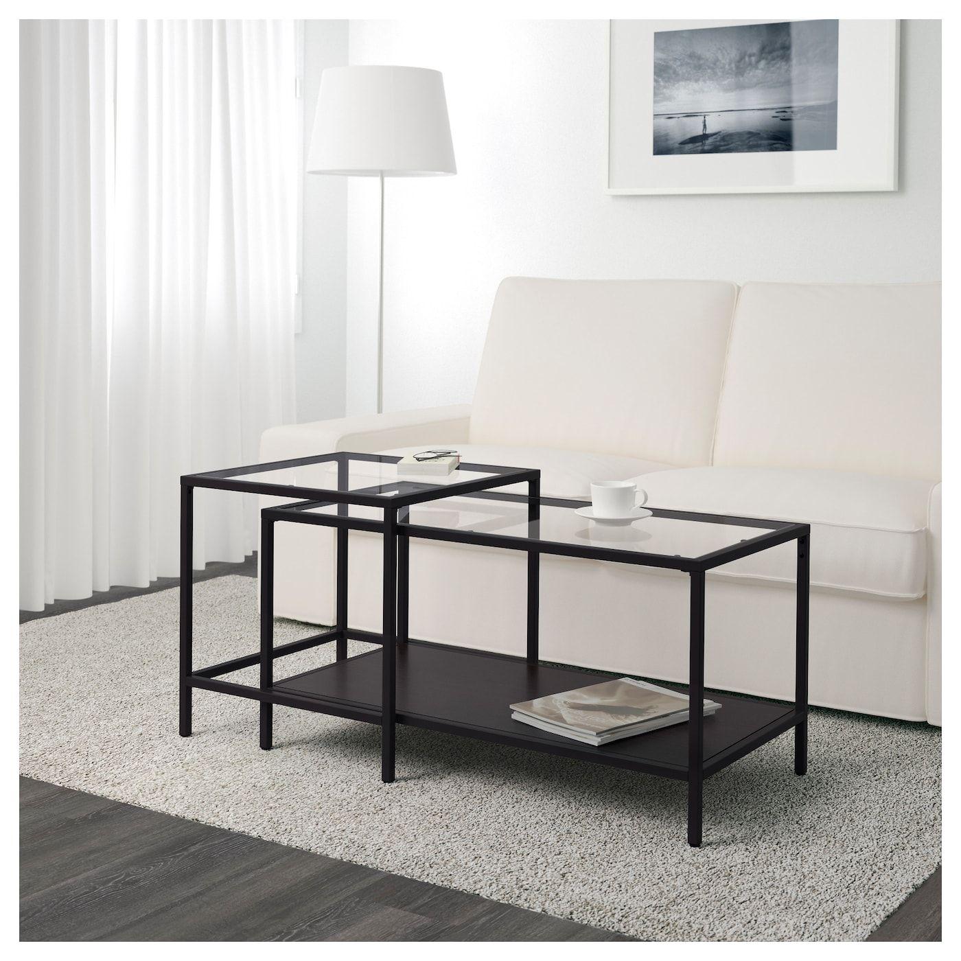 Vittsjo Nesting Tables Set Of 2 Black Brown Glass 35 3 8x19 5 8 Ikea Ikea Side Table Ikea Nesting Tables Coffee Table [ 1400 x 1400 Pixel ]