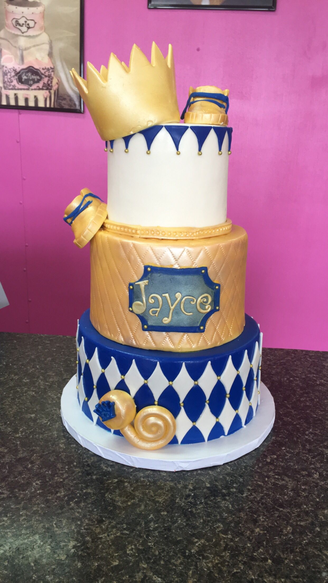 Royal blue, gold, and white baby shower cake. # ...