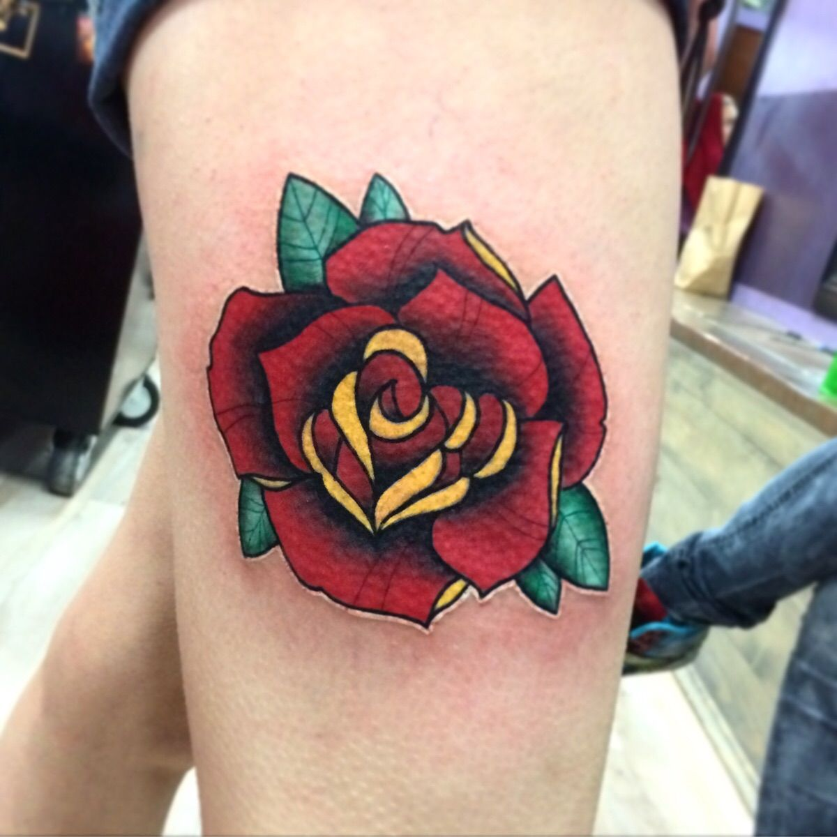 Neo traditional rose done by me david pearson at filthy for Neo traditional rose tattoo