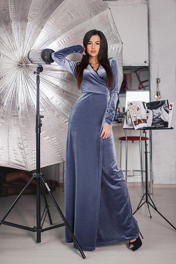 0502b7054c7 Женские бархатное платье на запах в пол. Цвет  графит