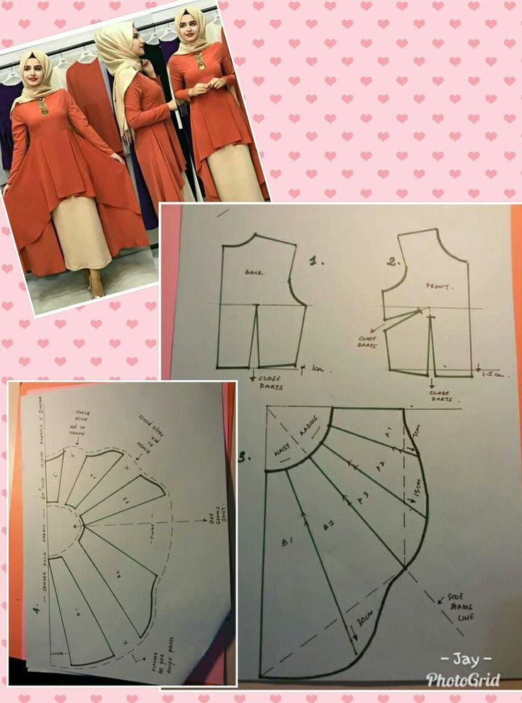 Gorgeous Long Tunic Dress High Low Asymmetrical Hem Tulip Lagenlook Layered Pola Pola Jahitan Menggambar Pola