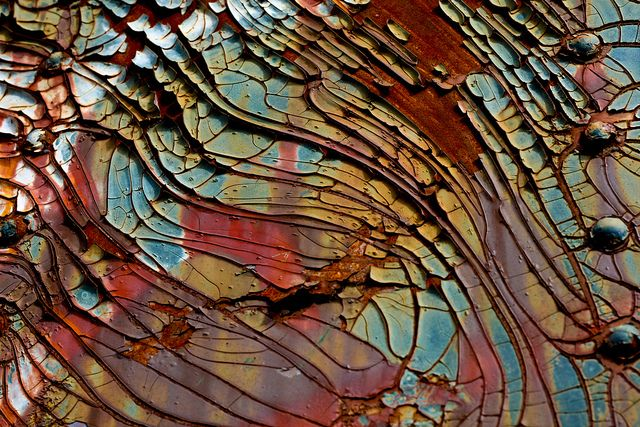 I think this is probably  rust and paint ....  the pattern, movement and colors just send me
