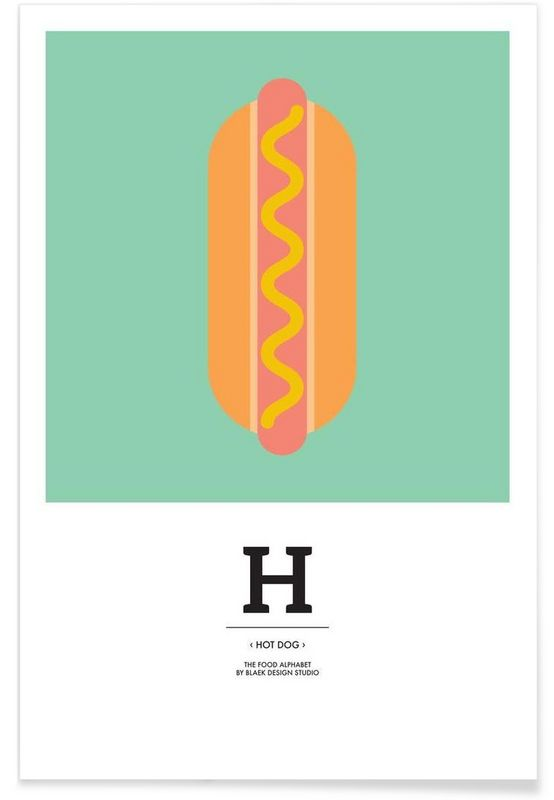 """The Food Alphabet"" - H like Hot Dog en Affiche premium par BLAEK Design Studio | JUNIQE"