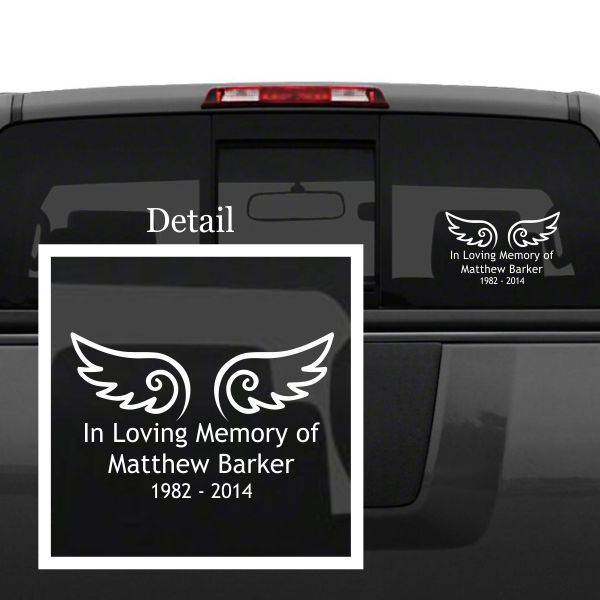Personalized memorial car decal allows you to keep your guardian angel with you on the go