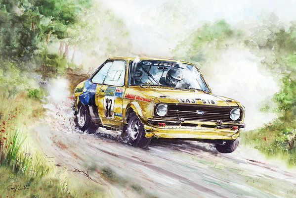 Ford Escort Mk2 Rally Car Poster By Geoff Latter Rally Car Car