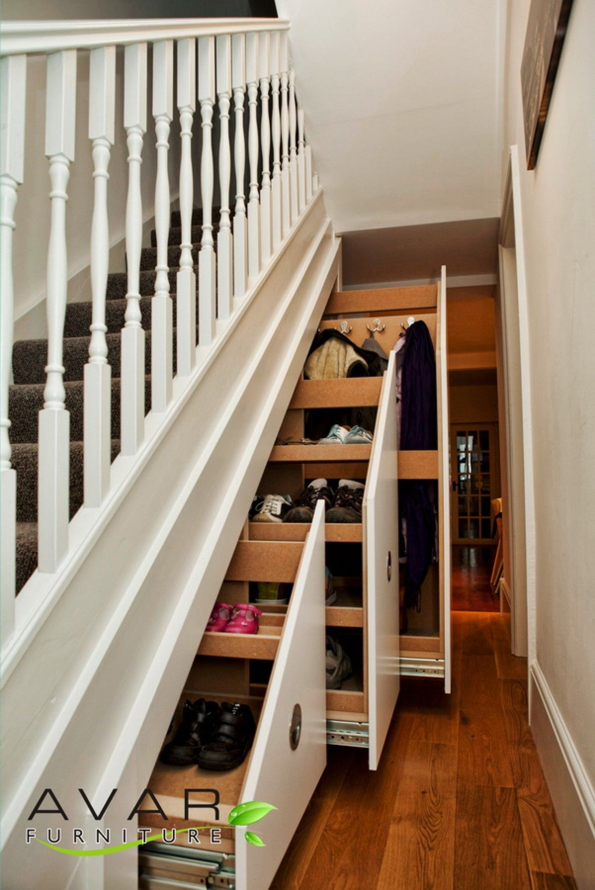 Under Stairs Storage in White Wooden Stairs and Racks With .
