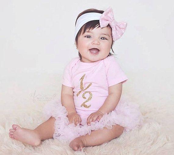 Matching Bow  Headband 6 Months Old Baby Girl White Bodysuit Glitter Heart 12 In Heart Gold Glitter Bodysuit Half Birthday