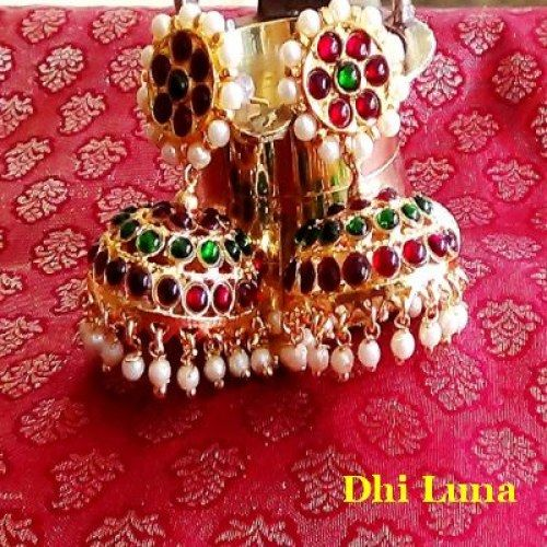Jumkha Big - traditional brown, green and white South Indian  - Online Shopping for Earrings by Dhi Luna Jewellery