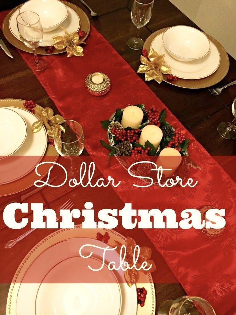 Dollar Store Christmas Table Christmas table, Table