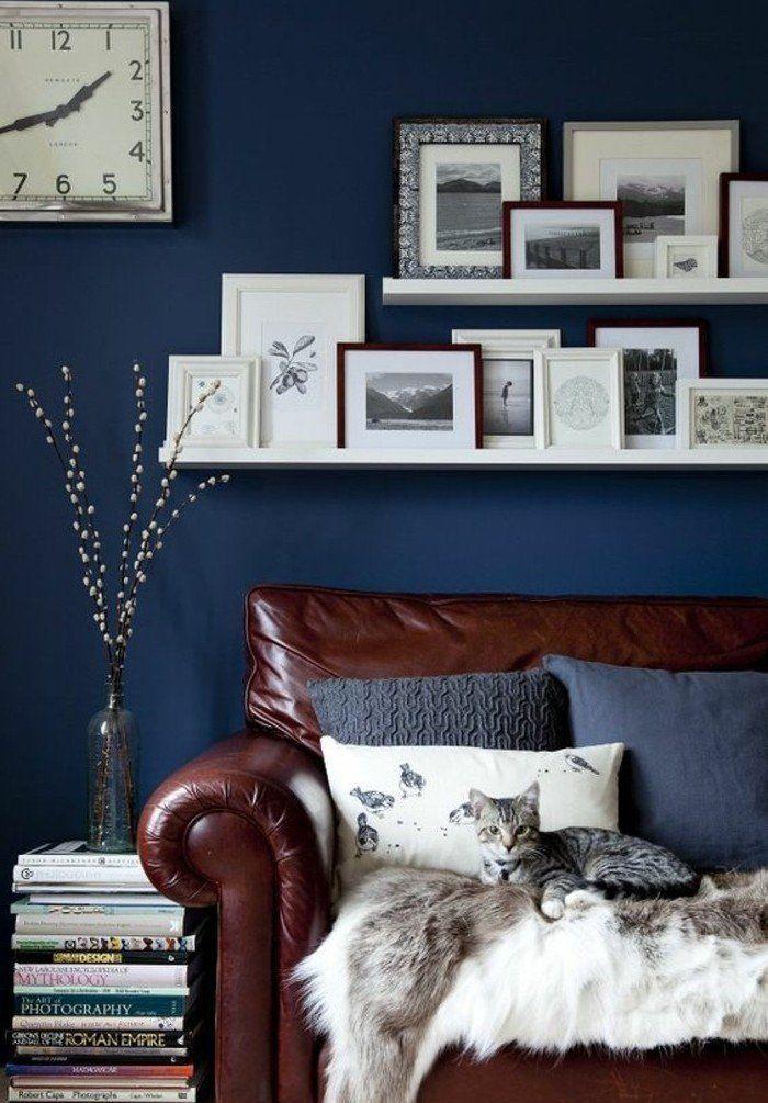 awesome dco salon couleur peinture salon bleu marine ide comment associer les couleurs - Comment Marier Les Couleurs De Peinture