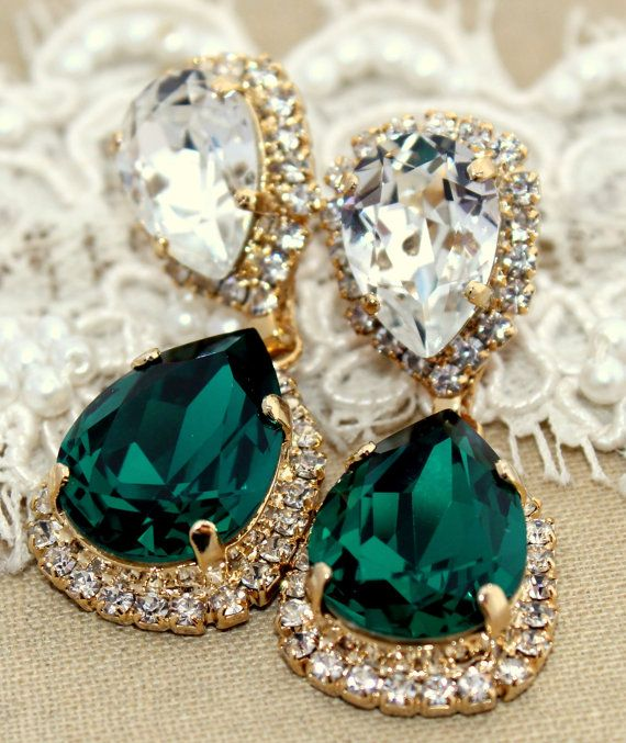 Emerald Chandelier Earring 14 K Plated Gold Earrings Real Swarovski Green Crystals