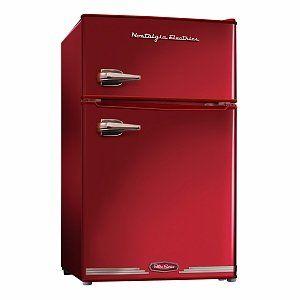 this red retro mini fridge is definitely a stylish and fun addition