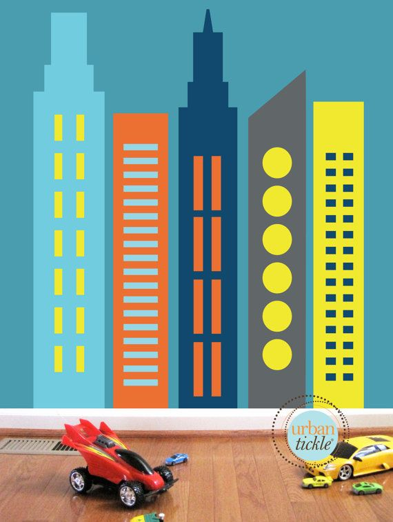 Skysers Wall Decals Large Nursery Wall Decor Wall Stickers Buildings City Skyline Decor