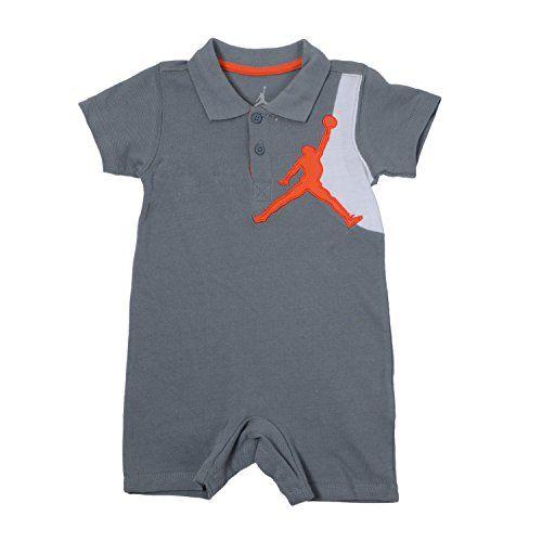 Nike Baby Boys' Jordan Polo Romper (6-9 Months, Cool Grey.