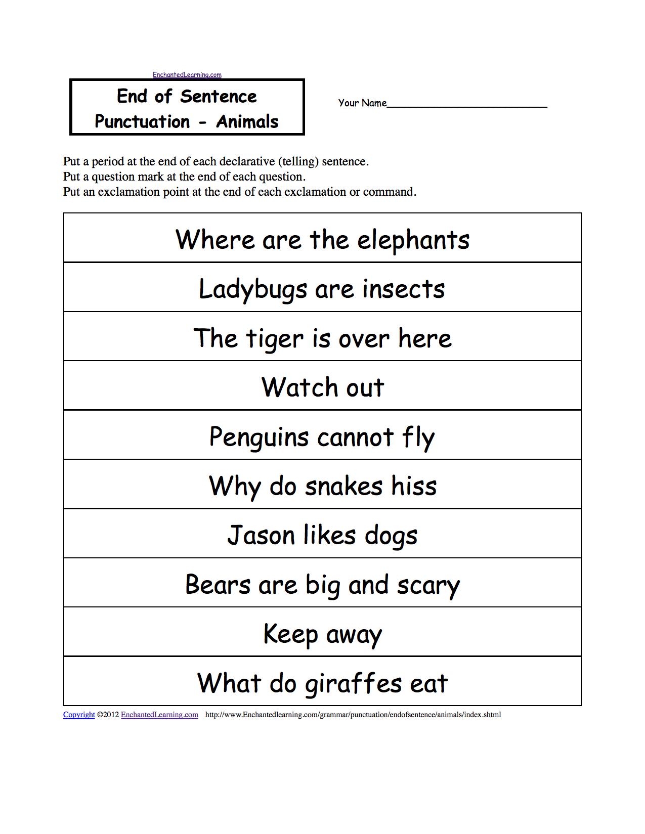 Image Result For Declarative Sentences About Animals Punctuation Worksheets Worksheets For Kids Punctuation [ 1649 x 1275 Pixel ]