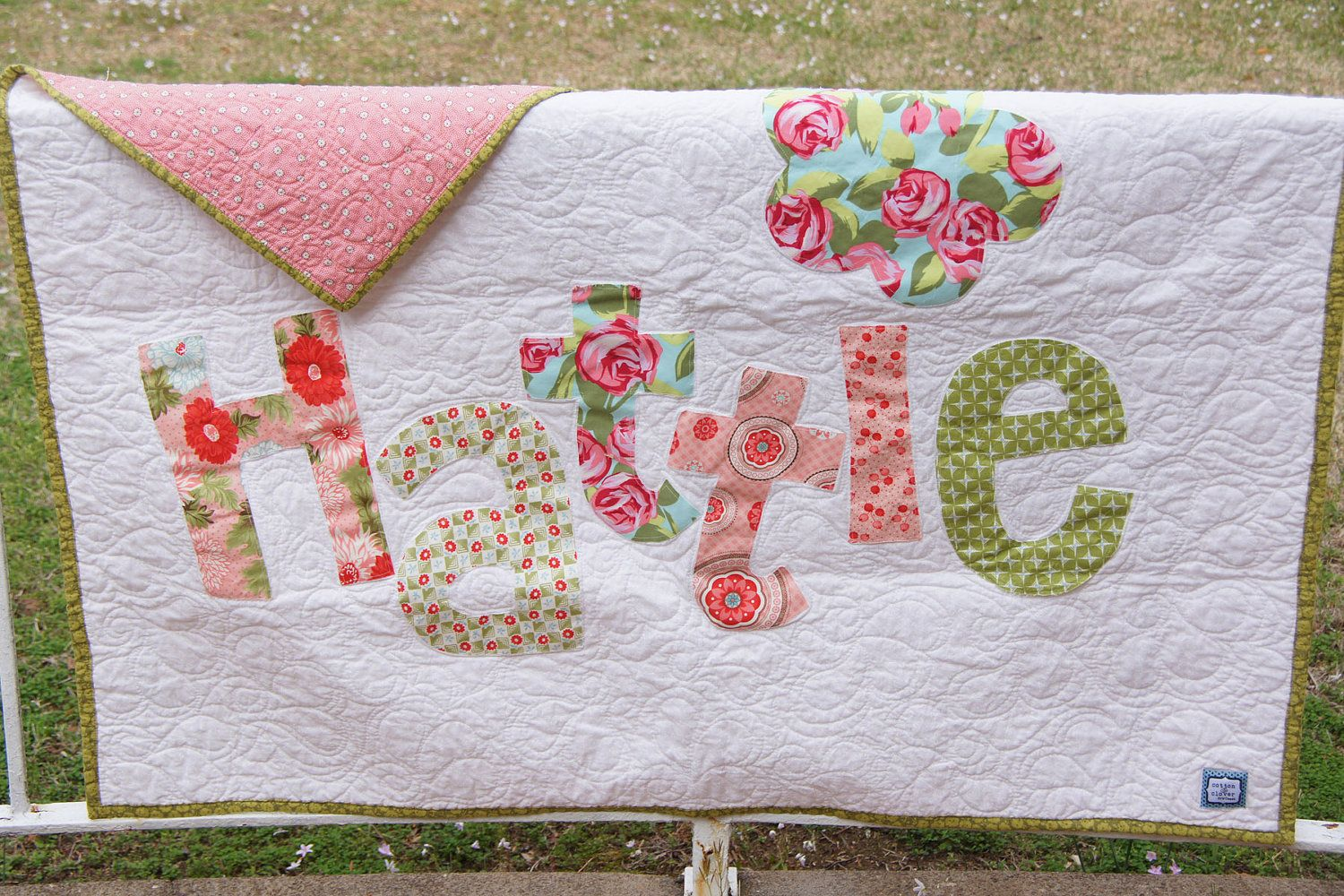 Personalized Quilt Custom Name Quilt Baby Quilt Raw Edge Applique
