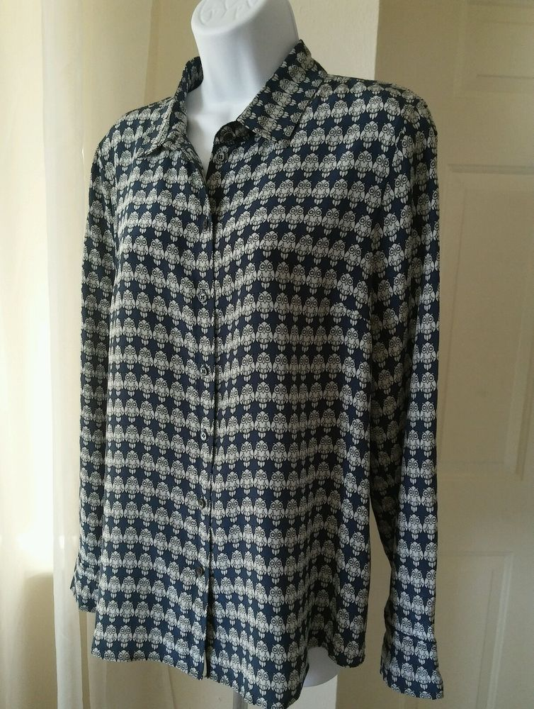 61f5e793 J.Crew 100% Silk Boy Blouse Owl Print Blue White Womens Button-Front Size  10 in Clothing, Shoes & Accessories, Women's Clothing, Tops & Blouses | eBay