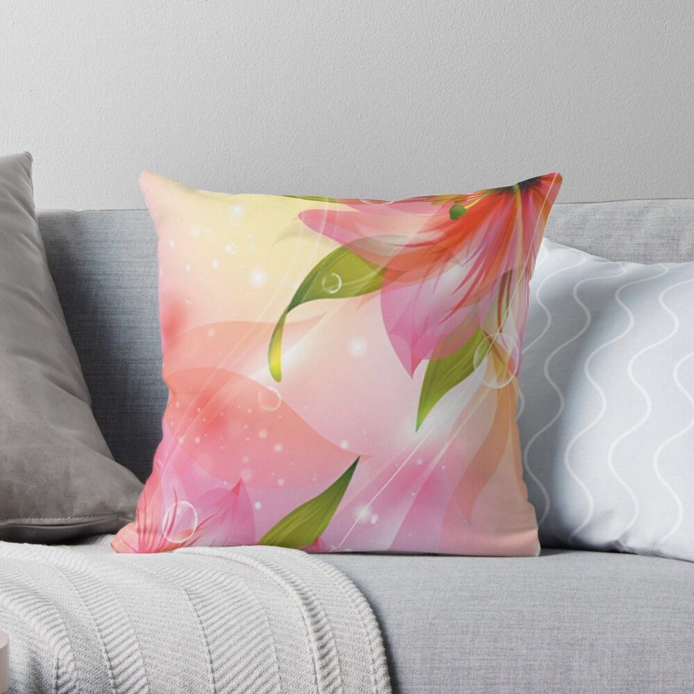 Beautiful Flowers Background Design 2 Throw Pillow By Greygoodzstore Flower Background Design Background Design Flower Backgrounds