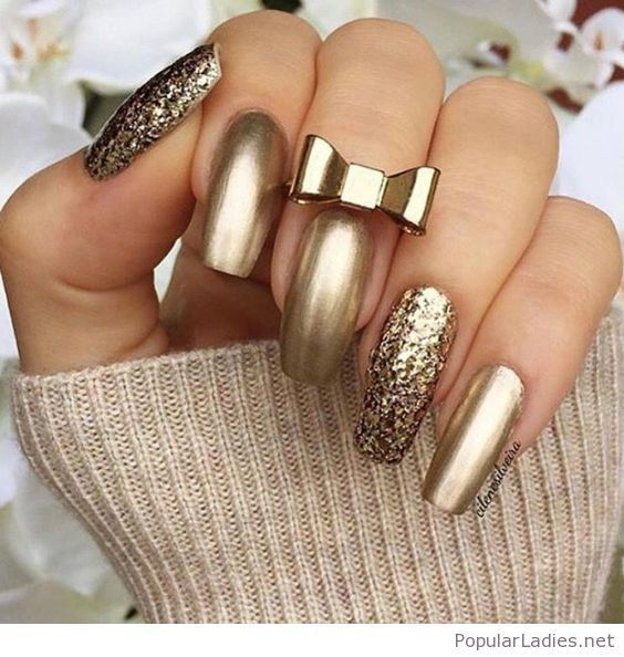 Gold gel nails with glitter | Gold gel nails, Mani pedi and Pedi