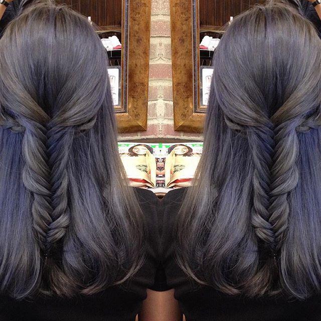 Iridescent lavender-grey hair color design, Winter Woodland at ...
