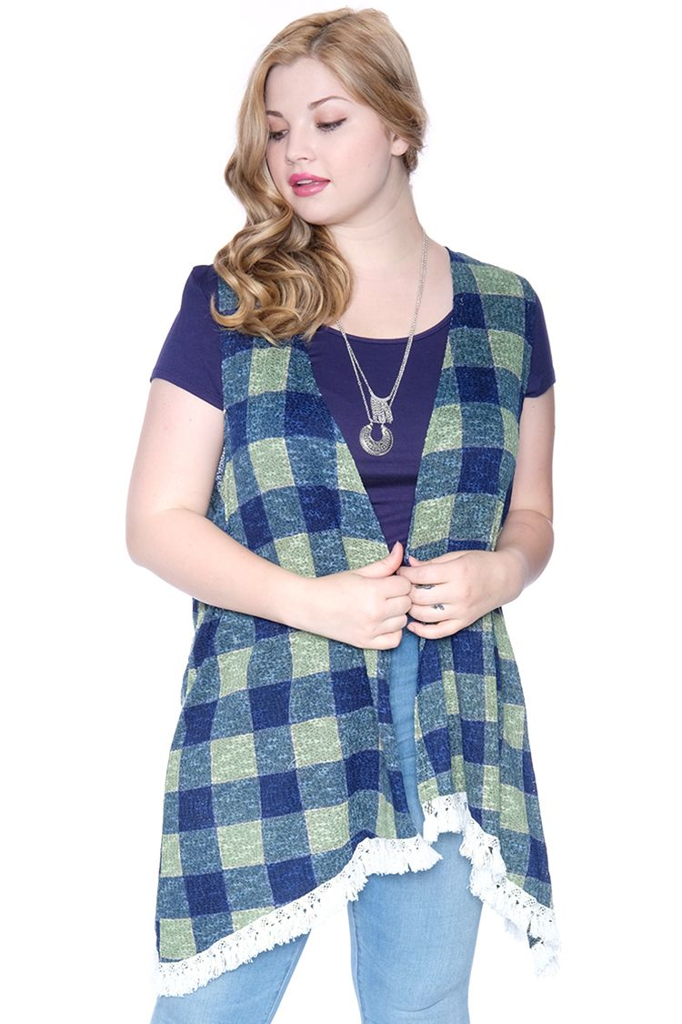 3925a7efed6 Plus Size Fringe Checker Cardigan-Loose knit cardigan vest with allover  checker print