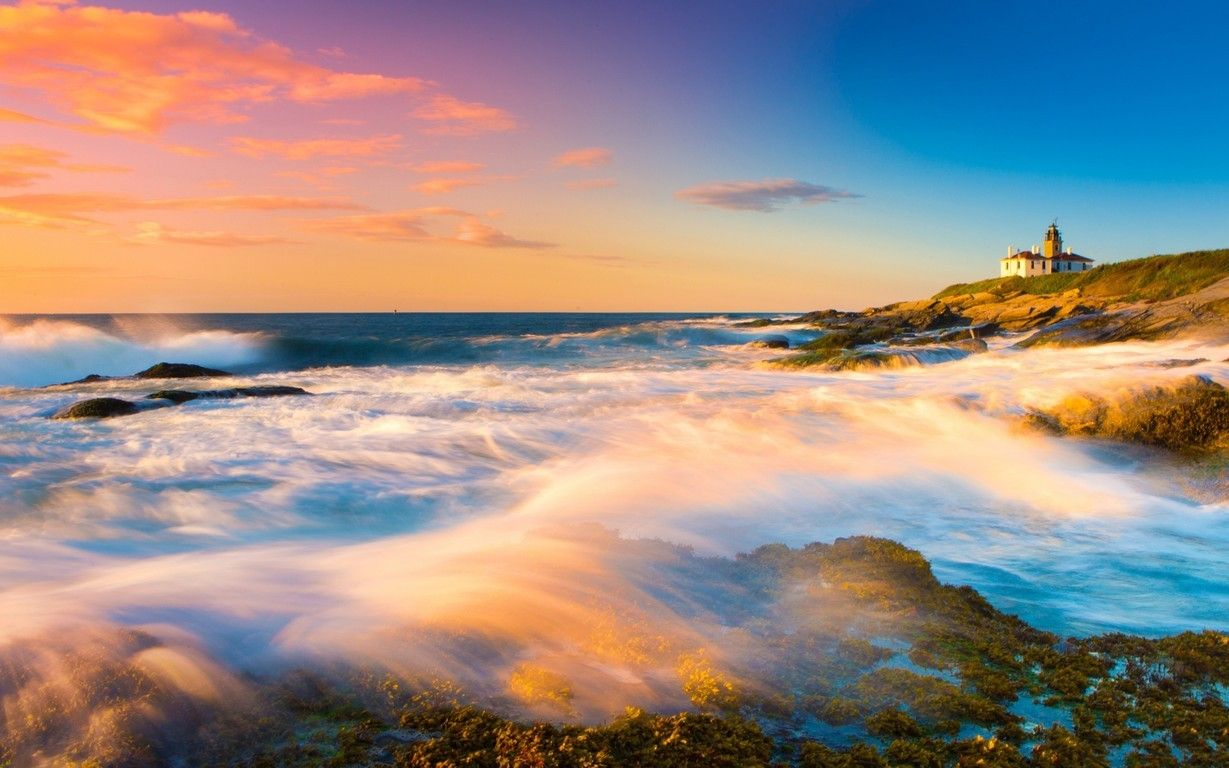 Lighthouse Waves Pink Sky Sunset Ocean Sea Full HD Wallpaper