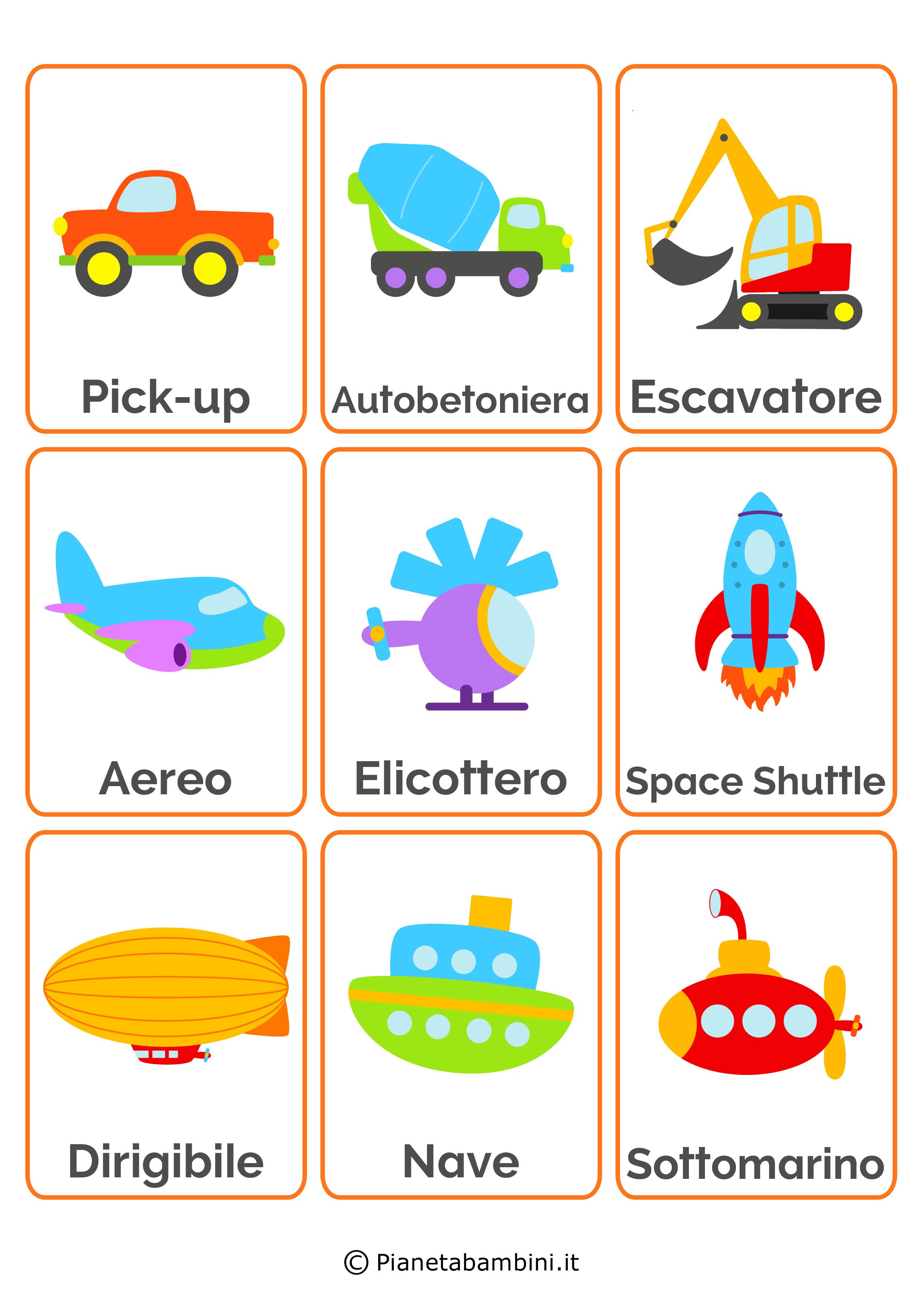 Carte Tematiche Per Bambini I Mezzi Di Trasporto Italian