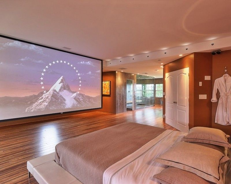 Bedroom Luxury Home Theater In A Bedroom With Recessed Lighting