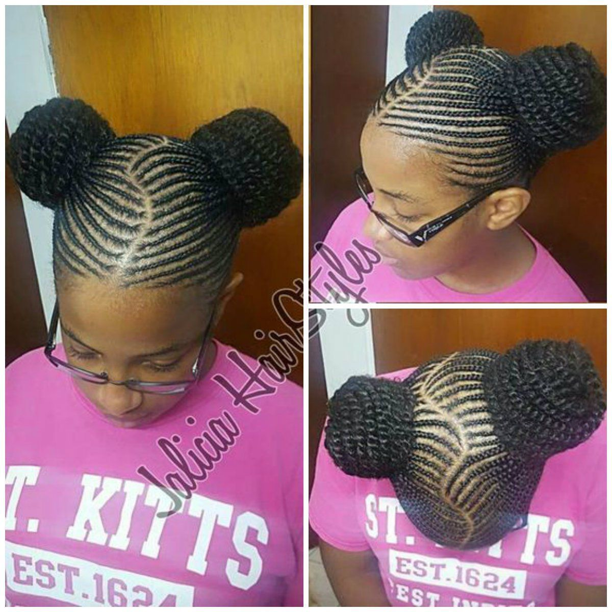29 Braided Cornrows With Buns For Little Black Girls Afrocosmopolitan Kids Cornrow Hairstyles Cornrow Hairstyles Little Girl Hairstyles