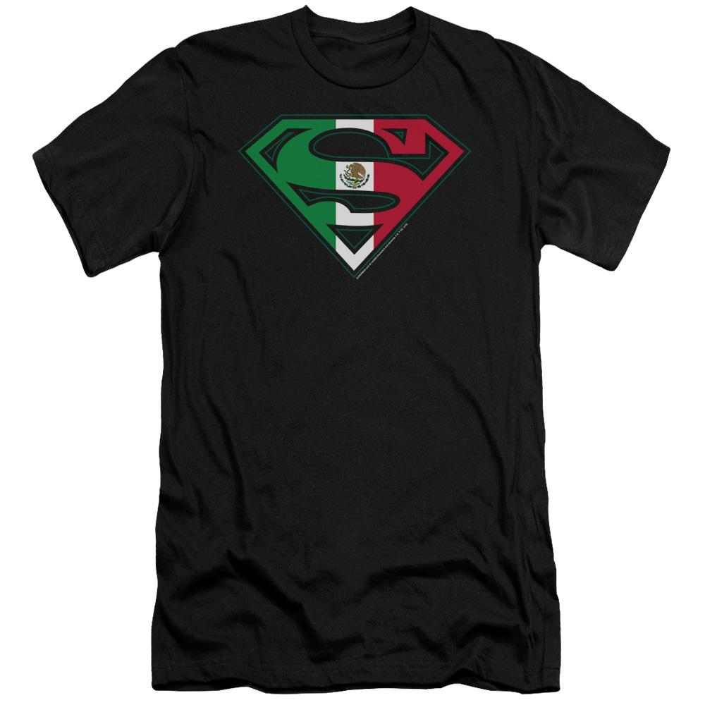 Superman - Mexican Flag Shield Premium Canvas Adult Slim Fit 30/1 Shirt Officially Licensed T-Shirt