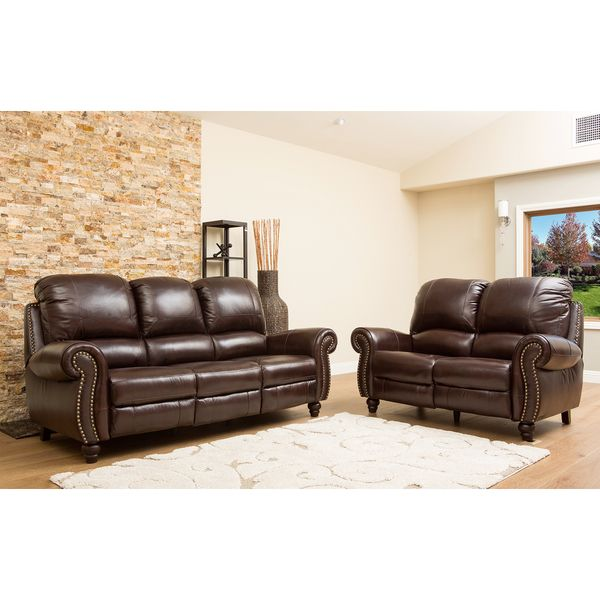 Charming Abbyson Living Madison Premium Grade Leather Pushback Reclining Sofa And  Loveseat   Overstock™ Shopping