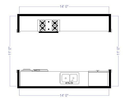 Galley kitchen floor plans best 25 galley kitchen layouts for Galley kitchen floor plans