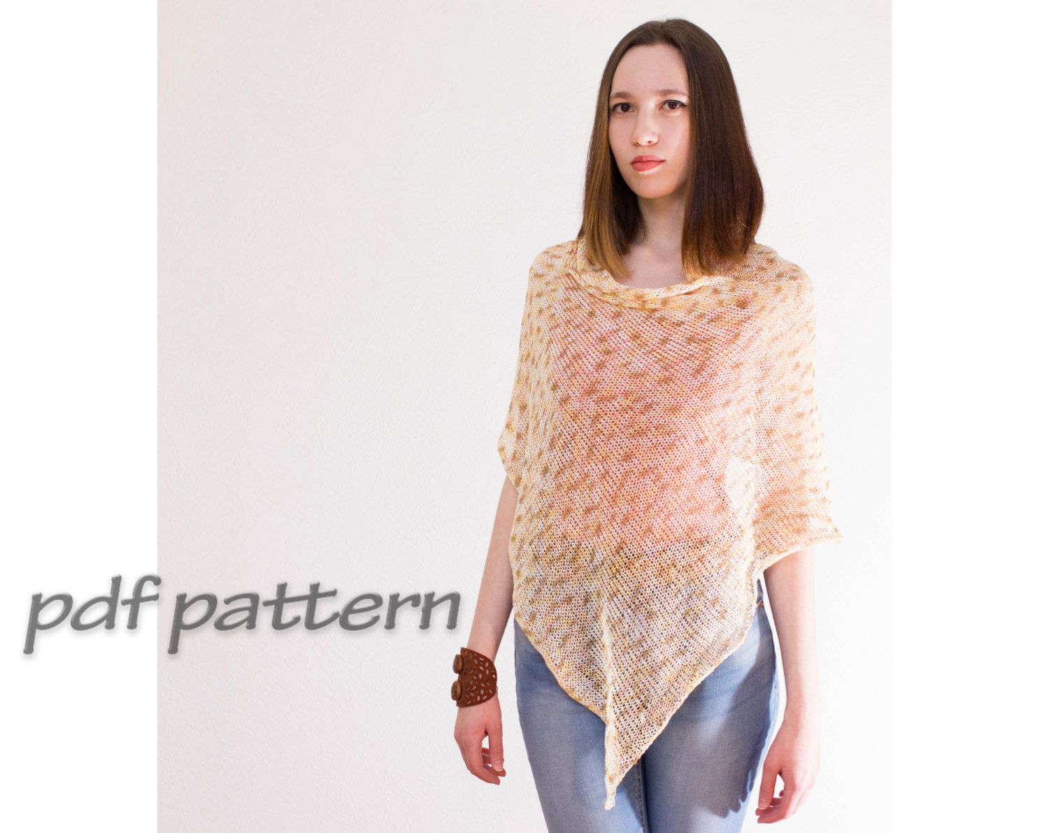 PATTERN Lace knitted poncho Mohair poncho Woman poncho Gypsy Women\'s ...