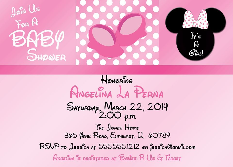 minnie mouse baby shower invitation, pink | baby shower, Baby shower invitations
