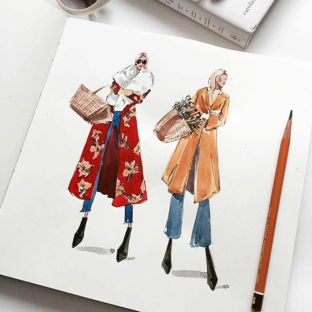"MMM on Instagram: ""#Saturdaythought #instapick #overcoats #inspiration #creation #inksketch #boots  #instamood #instasketch #fashionillustration #art…"""